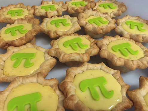 Pies with pi symbols on top of them