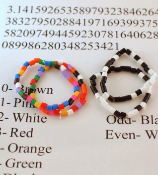 Two bead bracelets with colors representing the different numbers of pi