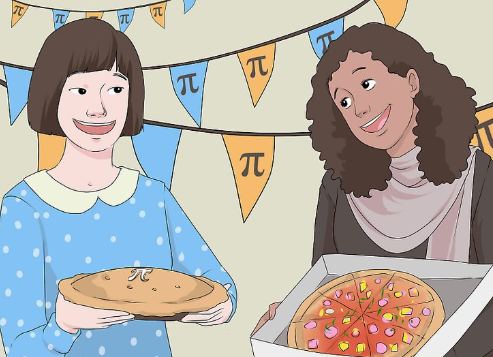 Two women presenting pies to one another with pi decorations in the background