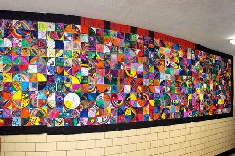 A colorful collage wall