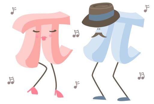 A male pi symbol and a female pi symbol dancing together