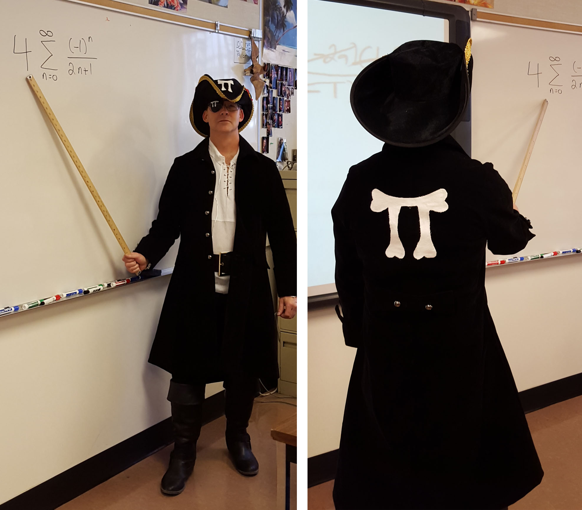 A teacher in a pirate outfit with the pi symbol on the back of it