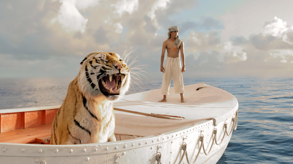 """A screenshot from the movie """"Life of Pi"""". A tiger and a young man on a boat."""