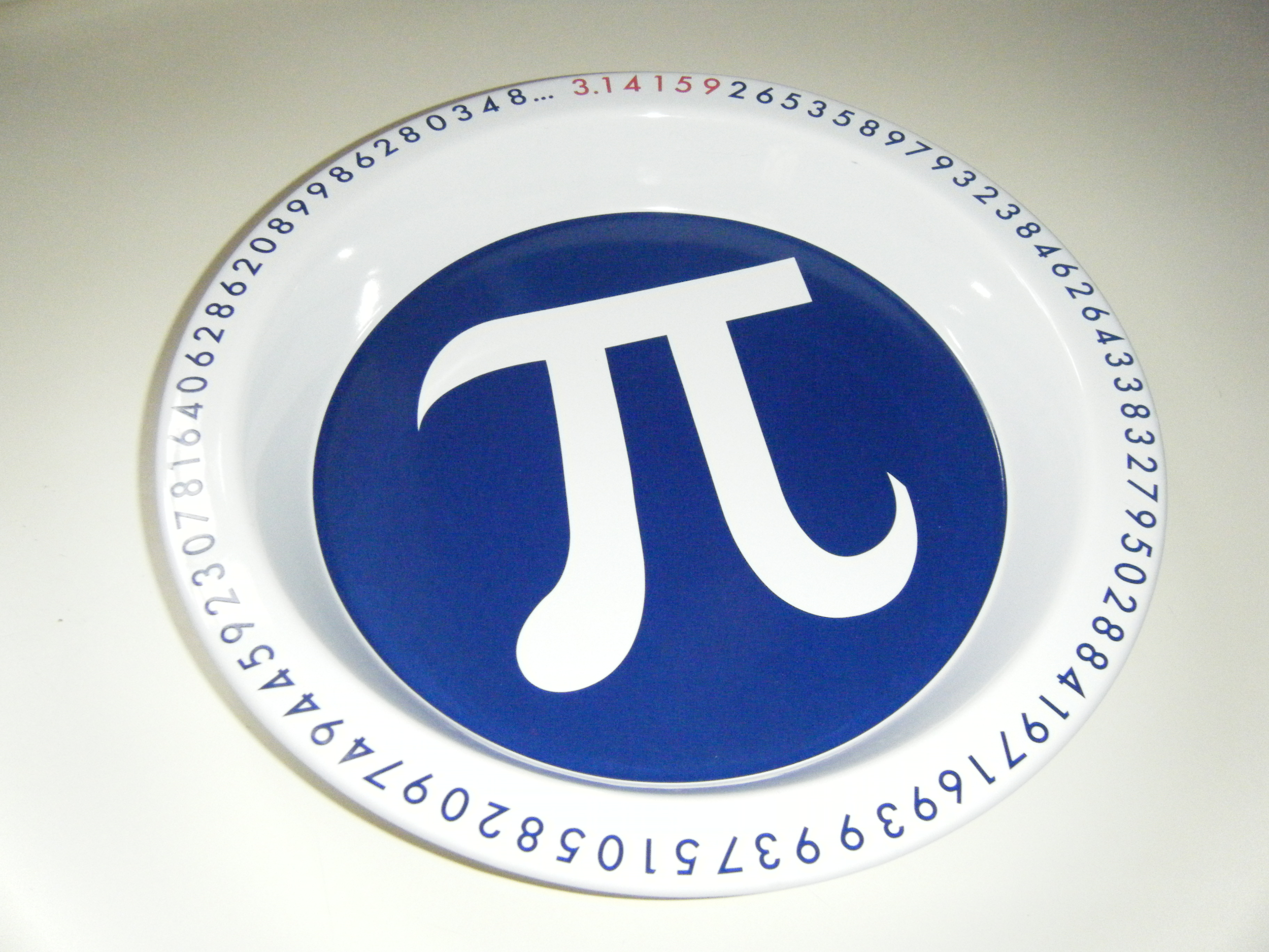 A plate with a pi symbol on it