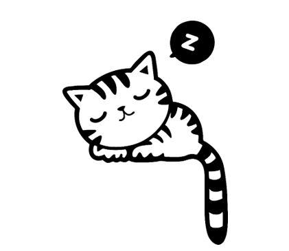 A cartoon cat sleeping