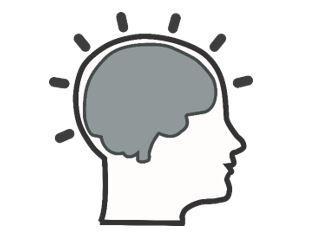 Drawing of a brain inside a human head