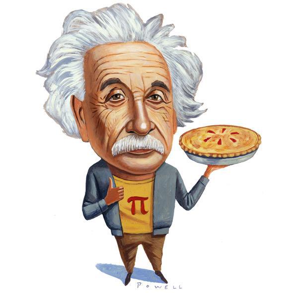 Cartoon Albert Einstein holding a pie with a pi symbol on it