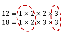 The common factors of 12 and 18 are 1, 2, and 3
