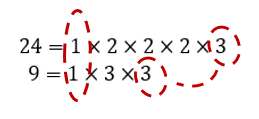 The common factors of 24 and 9 are 1 and 3