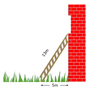 A 13 meter ladder propped up on a brick wall with the ladder's base being 5 meters away from the wall