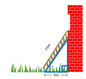 A 13 meter ladder propped up on a brick wall with the ladder's base being 5 meters away from the wall. This forms a triangle.