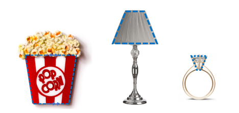 A popcorn container, a lampshade, and a diamond on a ring