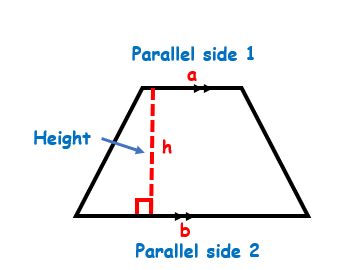 The parallel sides and height of a trapezoid
