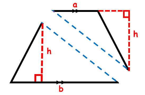 A trapezoid broken into two triangles