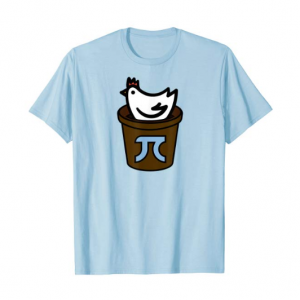 A blue t-shirt with a chicken inside a pot that has the pi symbol on it