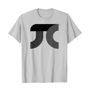 A t-shirt with a grey and black pi symbol on it
