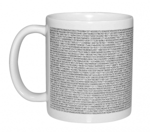 A white mug with the numbers of pi on it