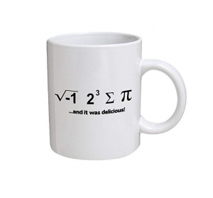 "A white mug that uses mathematical symbols to spell out ""I ate some pie and it was delicious"""