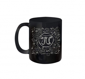 A black mug with a pi symbol on it and various other math symbols
