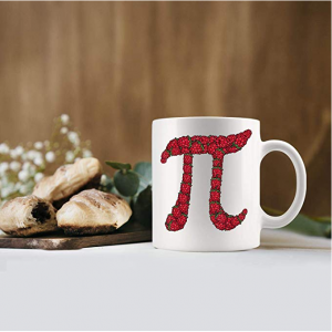 A cup with a pi symbol on it made out of strawberries