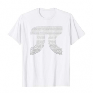 A white t-shirt with the numbers of pi forming the pi symbol on it