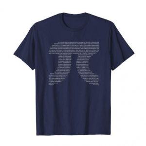 A t-shirt with the numbers of pi forming a pi symbol