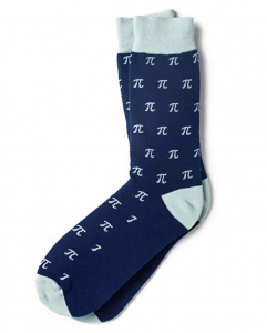 Blue pi symbols on socks