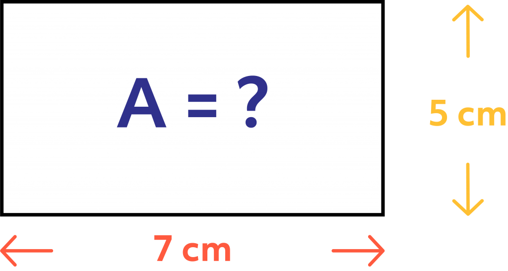 A rectangle with a width of 5 cm, a length of 7 cm, and an unknown area