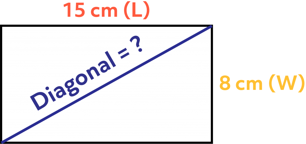 A rectangle with a length of 15 cm, a width of 8 cm, and an unknown diagonal