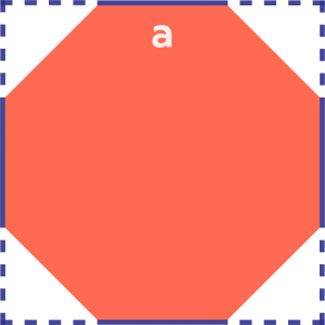 A hexagon inside a square