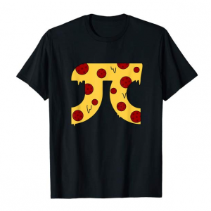 A pi symbol with a pepperoni pizza design