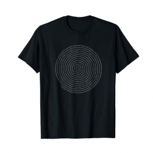 A t-shirt displaying the numbers of pi in a spiraling design