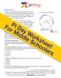 Pi day worksheet for middle schoolers