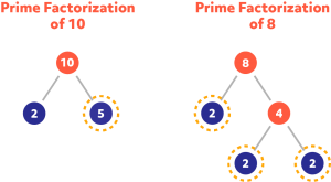 Diagram showing the prime factorization of 10 and 8