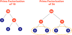 Diagram showing the prime factorization of 18 and 36