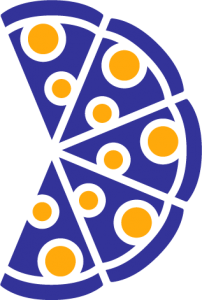 Diagram showing 5/8 pizza slices